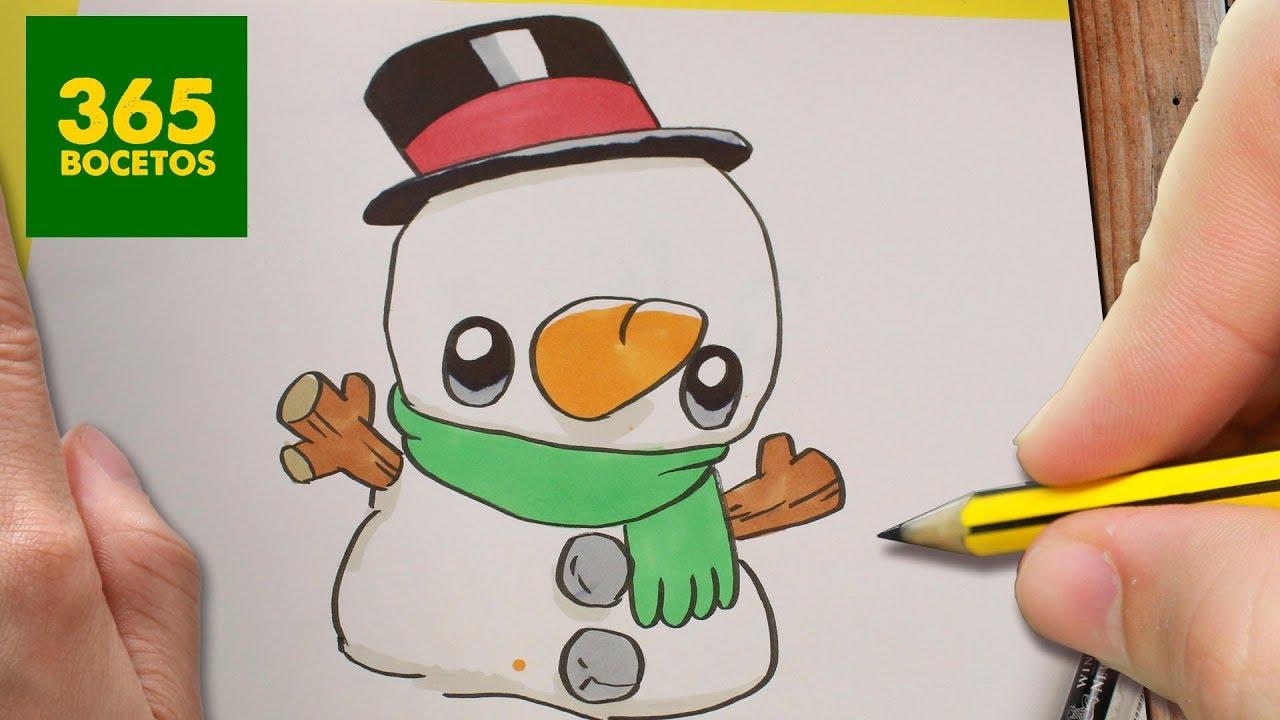 Como Dibujar Un Muneco De Nieve Kawaii Para Navidad Dibujos Kawaii