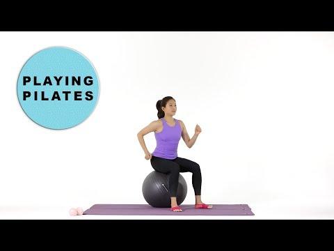[Playing Pilates] 짐볼로 유산소 전신운동 8min ★ GymBall Workout 짐볼로 뛰어보자!