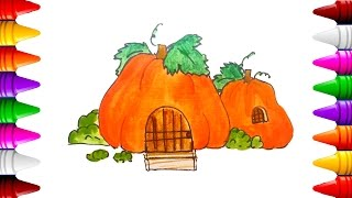 Vẽ ngôi nhà Bí Ngô - How to draw a Pumpkin house Drawing Lesson for children