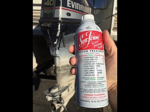 Watch how fast Sea Foam cleans a gummed-up outboard carburetor