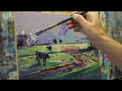 Oil Painting Demonstration – Landscape – Trees and Sky – Part 1