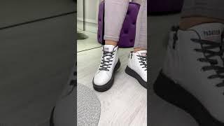 Кроссовки женские белые серые FashionClassic эко кожа Деми