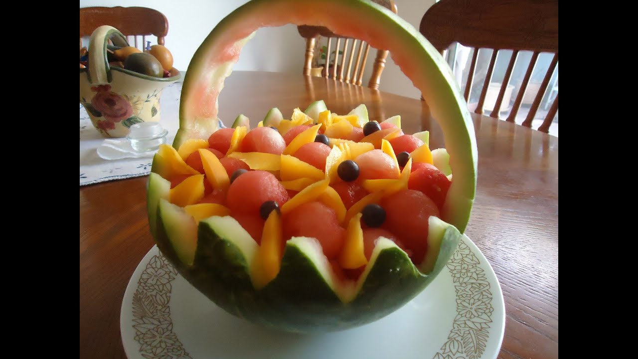Canasta de sandia 1 youtube for Como secar frutas para decoracion