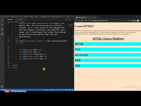 Multiple Classes - HTML 5 Tutorial | AH Academy | thumbnail