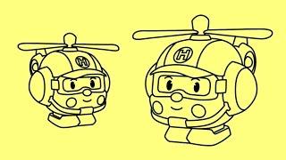 How to draw cartoons Robocar Poli - Helly | Как нарисовать Робокар Поли - Хелли