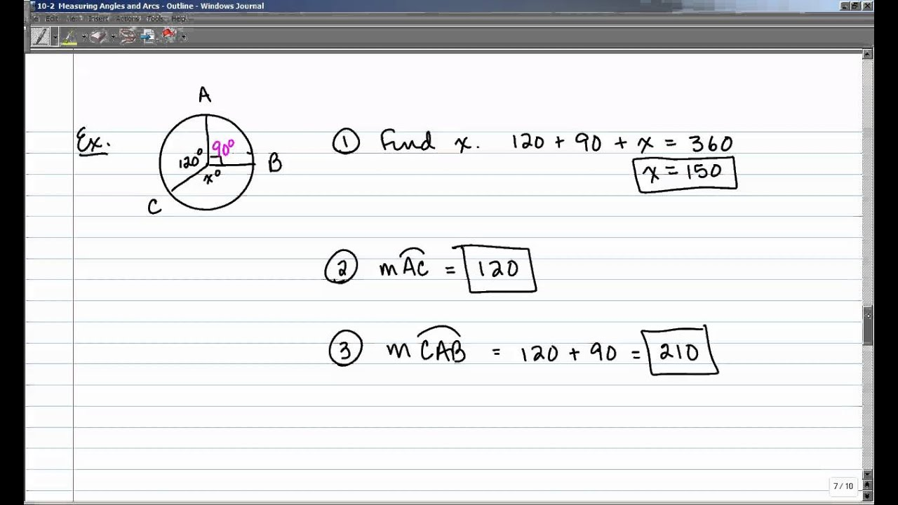 10-2 Measuring Angles and Arcs - YouTube