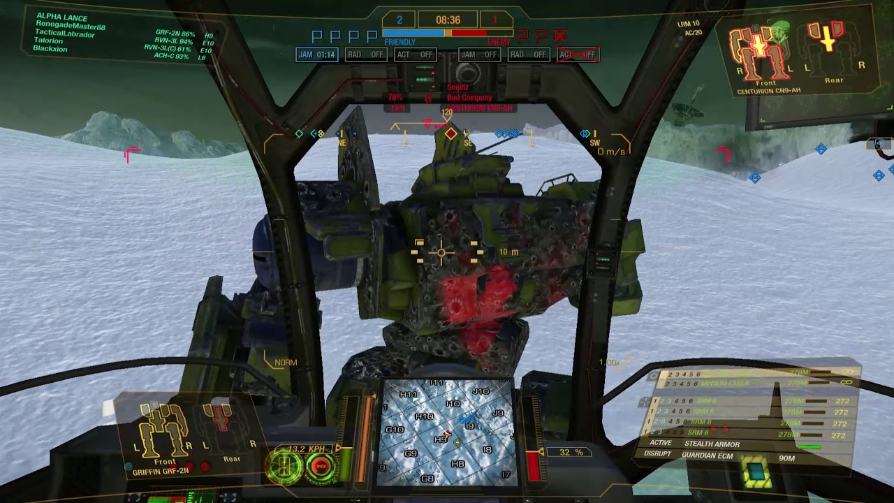 Mechwarrior Online Griffin 2n Stealth Armour In Flank Attack Youtube