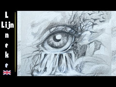 Drawing a SURREALISTIC EYE -  waterfall landscape with pencil