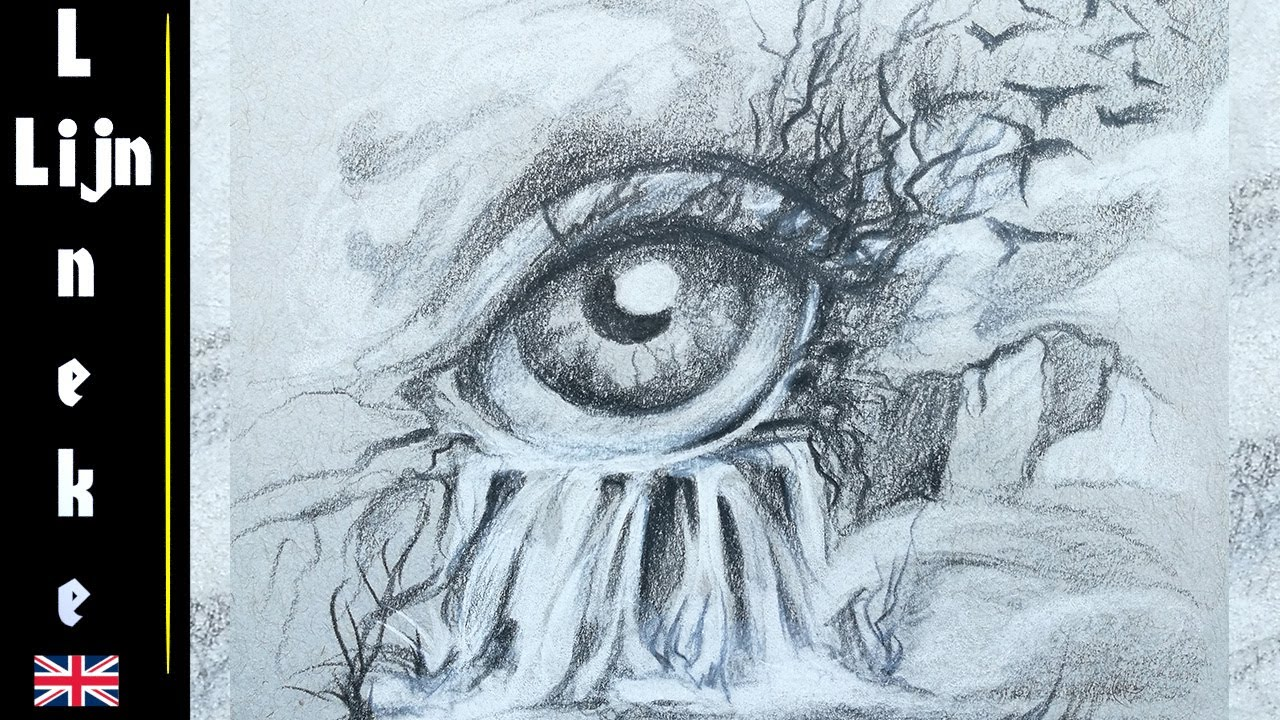 Drawing a surrealistic eye waterfall landscape with pencil