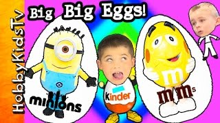 4 BIG BIG Eggs!  Minion Kinder Egg M+M Guy  Kinder Guy, So Many Toys and Fun HobbyKidsVids