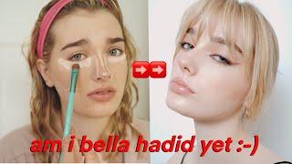trying a tiktok makeup tutorial (supermodel look)