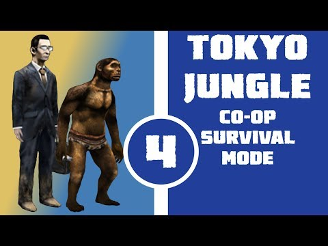 Let's Play Tokyo Jungle Co-op (Survival Mode) Part 4 - Office Worker and Homo Erectus