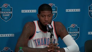 Paul George speaks at Thunder media day