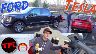 Can The New 2021 Ford F-150 FULLY Charge an Electric Car? You Won't Believe How Much Gas It Uses!