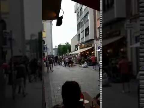 Hooligan fight - Anderlecht vs. Aston Villa in Düsseldorf City