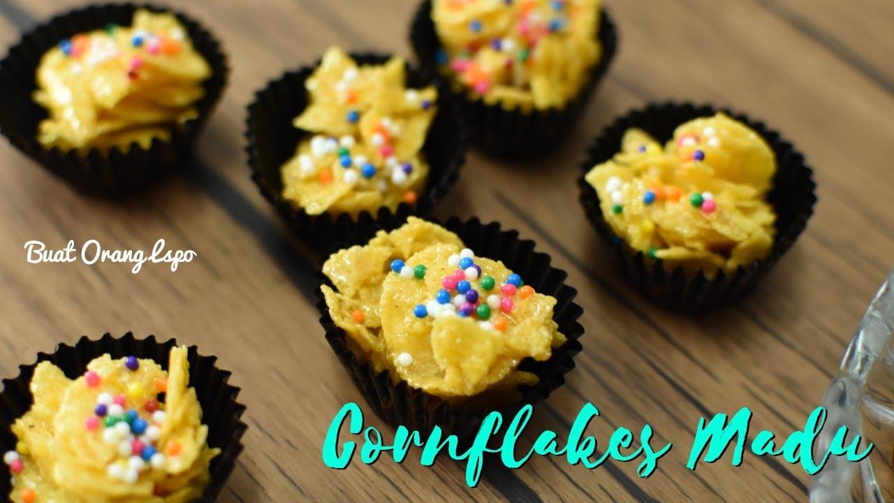 Resepi Cornflakes Madu Rangup - Kuih Raya | Resepi Biskut Raya - YouTube