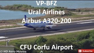 VP-BFZ Ural Airlines Airbus A320-200 TAKE OFF Kerkyra International Airport(, 2015-06-20T05:25:44.000Z)