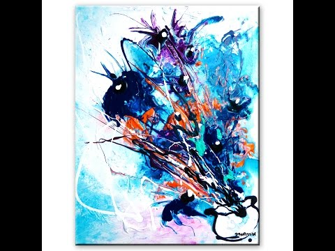 Stunning abstract painting of flowers step by step art lesson and tutorial by Peter Dranitsin