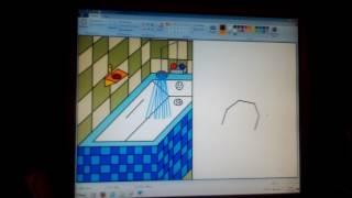 Рисунок в PAINT интерьер ванной и туалета в отдельности. Урок 6.