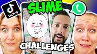 4 LUSTIGE TIK TOK & WHATSAPP SLIME CHALLENGES mit Kaan, Kathi & Nina