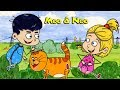 Children play with a cat - Moo and Noo funny children's cartoon