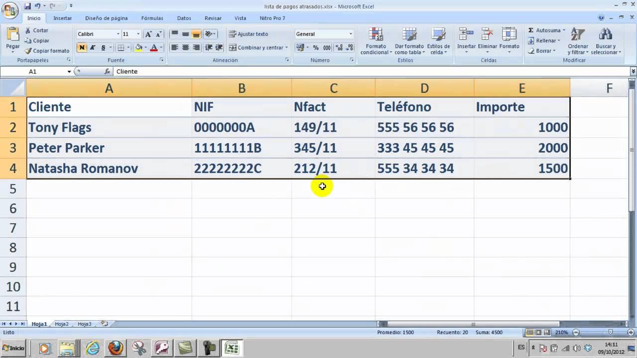 Ofimática Excel 01 Crear una hoja de cálculo simple Informática ...