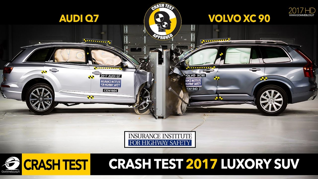 Crash Test SUV | 2017 Audi Q7 vs 2016 Volvo XC90 Small Overlap Crash Test IIHS [GOMMEBLOG] - YouTube
