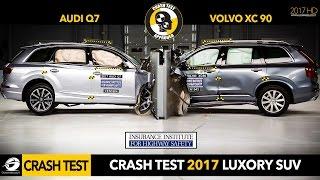 Crash Test SUV   2017 Audi Q7 vs 2016 Volvo XC90 Small Overlap Crash Test IIHS [GOMMEBLOG]