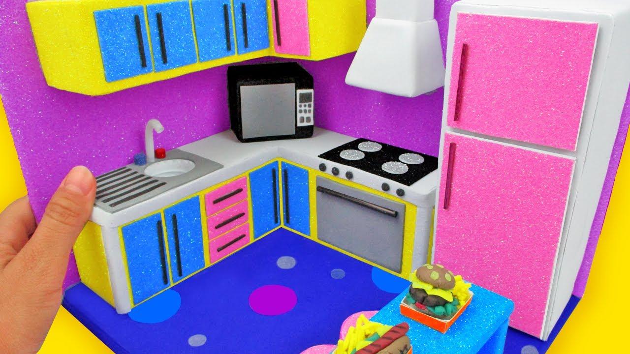 DIY MINIATURE CARDBOARD HOUSE ~ MODERN KITCHEN AND MINIATURE FOOD