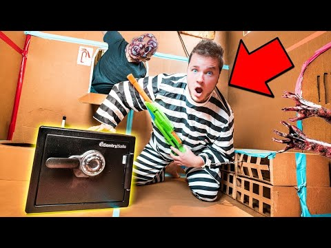 BOX FORT PRISON ESCAPE ROOM ABANDONED SAFE!! 24 Hour Challenge Vs Zombies