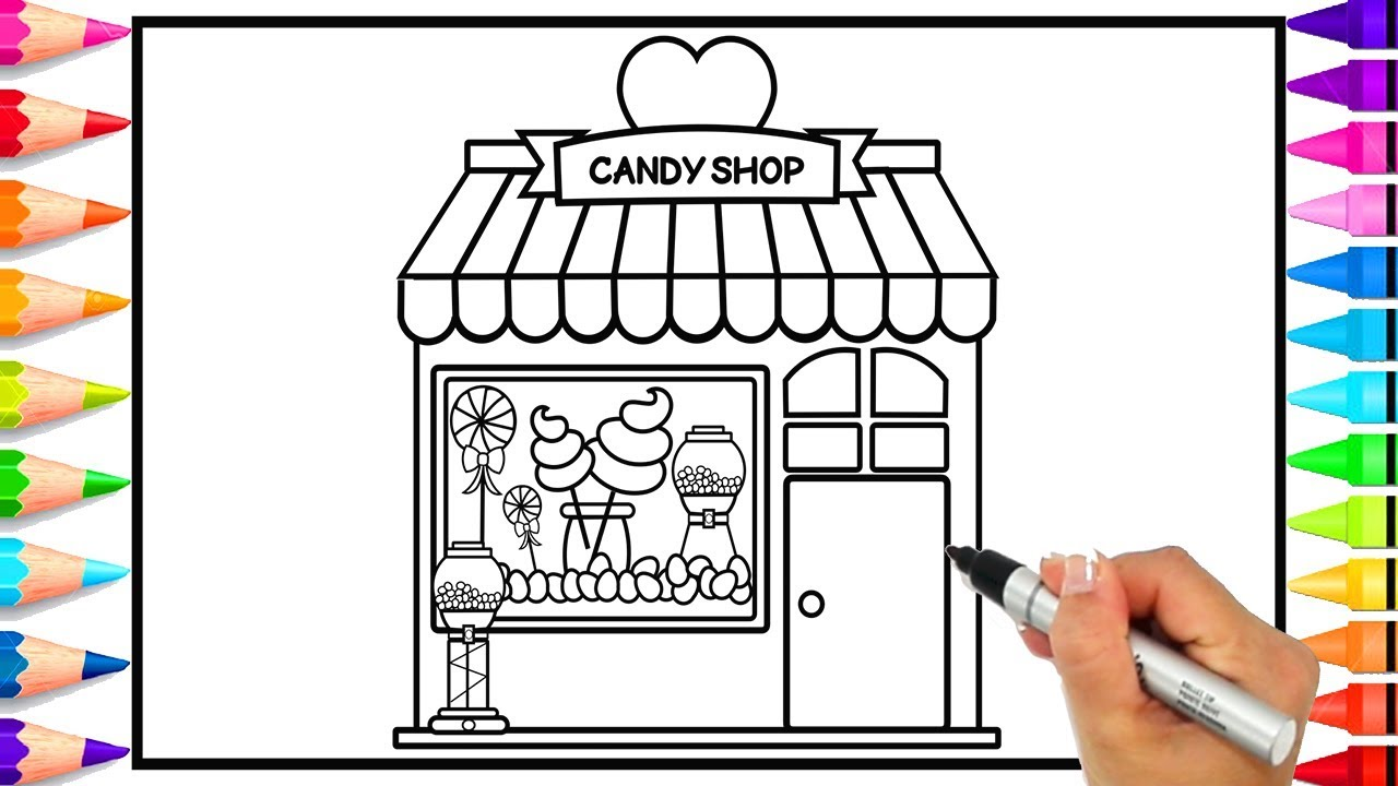 How to Draw a Candy Shop for Kids   Learn How to Draw a Candy Store ...