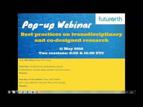 Pop up Webinar: Best Practices on Transdisciplinary and Co Designed Research