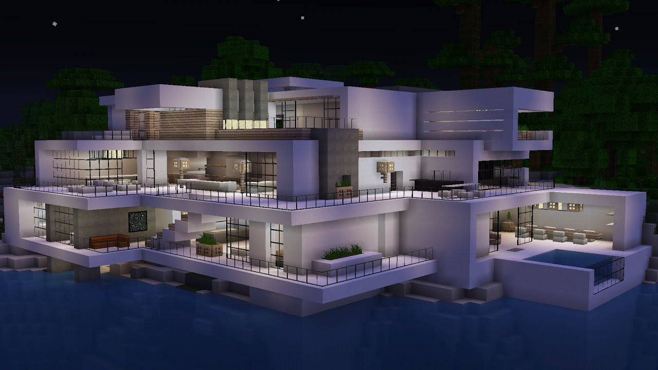 Minecraft ultra modern villa youtube for Villa ultra moderne