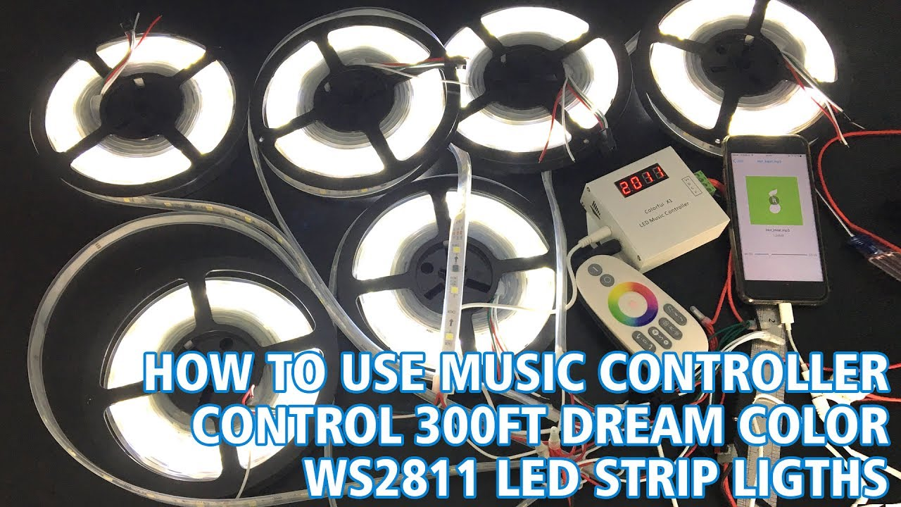 How to use music controller control 300Ft dream color WS2811 Daylight white  led strip lights