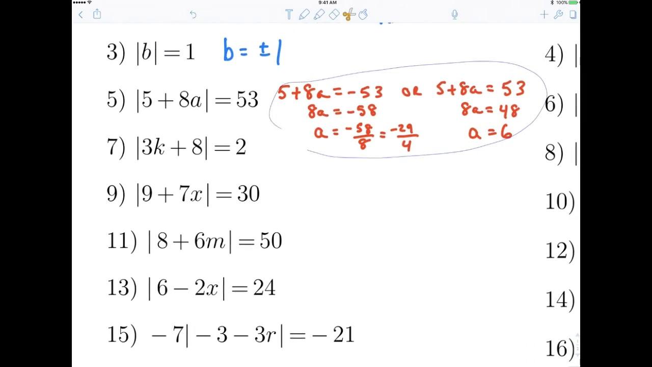 8th Grade Algebra 1 Section 2 5 Worksheet Youtube