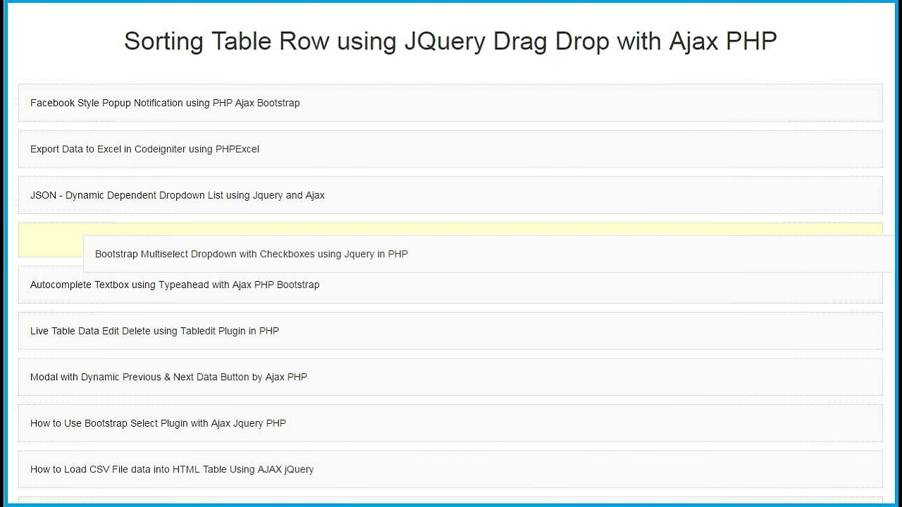 Sorting Table Row using Jquery Drag Drop with Ajax PHP