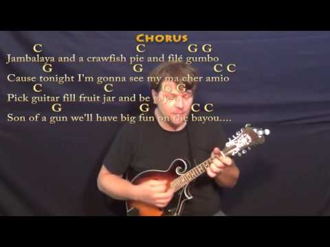 Jambalaya (Hank Williams) Mandolin Cover Lesson in C with Chords/Lyrics - C G