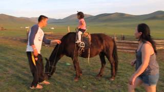 mongolian 2years old baby riding horse courageous rider s