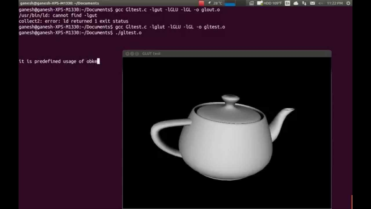 OpenGL (GLUT API) compililation in Ubuntu13.10 by Vellanki Ganesh