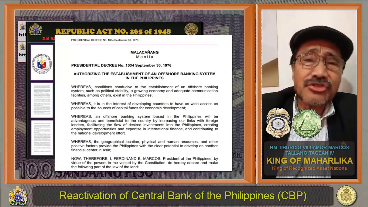 REACTIVATION OF CENTRAL BANK OF THE PHILIPPINES PRELUDE TO THE GLOBAL MONETARY RESET !!!