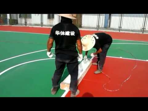 How to install the wet pour EPDM rubber surface of Basketball court Tennis court