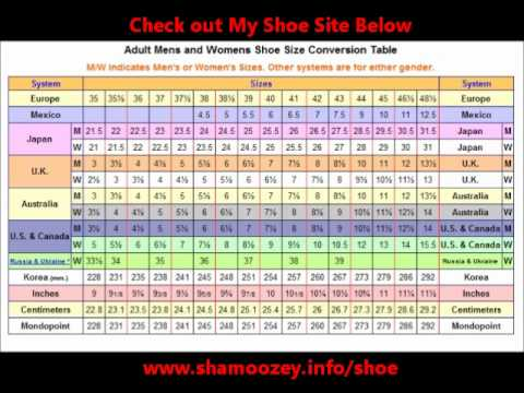 Shoe Size Conversion Table - YouTube