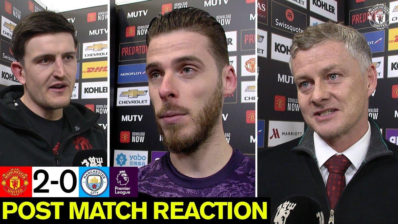 Maguire, De Gea & Solskjaer react to derby win | Manchester United 2-0 Man City | Premier League