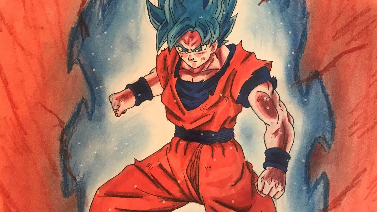 Drawing Goku Super Saiyan Blue Kaioken X10 Youtube