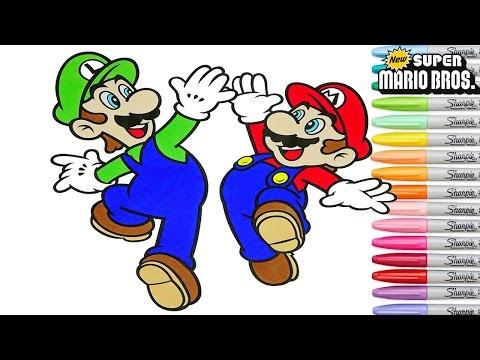 Super Mario Coloring Book Pages Luigi Nintendo Rainbow Splash