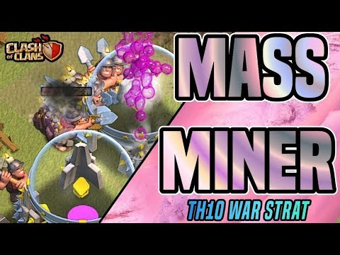When to Mass Miners- AQ Walk Miners - TH10 3 Stars Attack Strategy | Th10 Miners | Th10 Best war coc