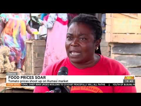 Food Prices Soar: Tomato price shoot up on Kumasi market - Adom TV News (20-7-21)