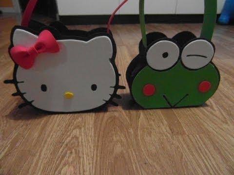 MANUALIDADES :como hacer bolso (dulcero) keroppi amigo Hello kitty de goma eva ...