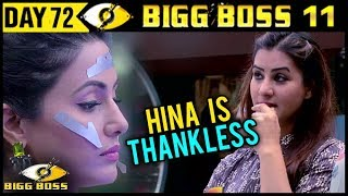 BIG BOSS 11 | Shilpa Shinde Insults Hina Khan | Day 72 | 12th December 2017 | Full Episode Update
