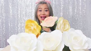 Repeat youtube video How to make paper ROSE by Madammouth  สอนทำกุหลาบกระดาษ